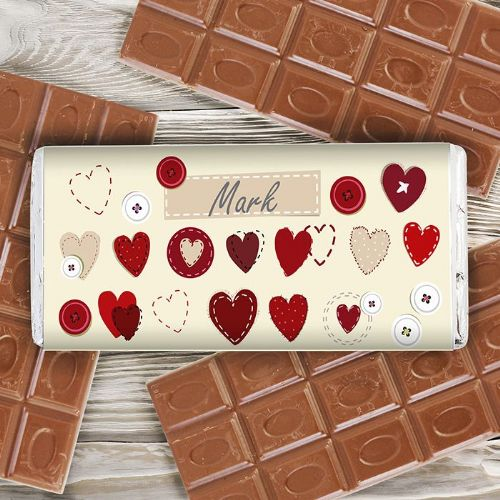 Personalised Fabric Hearts Design Chocolate Bar